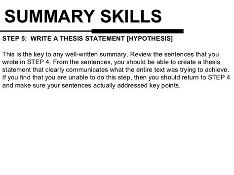 How To Write The Summary Part Of A Resume by Thesis Statement Summary Essay Creating A Thesis Statement Writing Center
