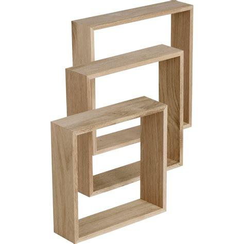 rangement cuisine alinea etagère 3 cubes chêne l 30 x p 30 l 26 5 x p 26 5 l 23