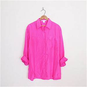 Silk Shirt Neon Hot Pink Silk Blouse from Trashy Vintage