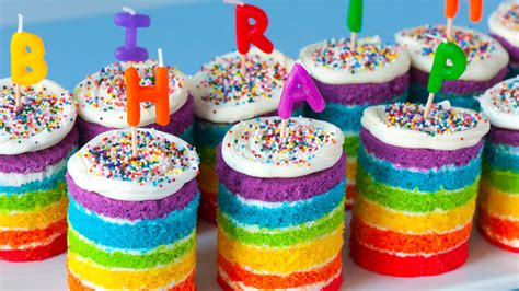 teeny tiny rainbow cakes recipe tablespooncom