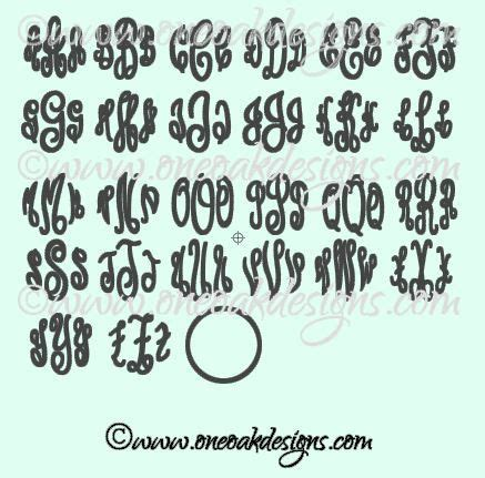 empire script master circle monogram alphabet svg  oneoakdesigns  circle monogram font