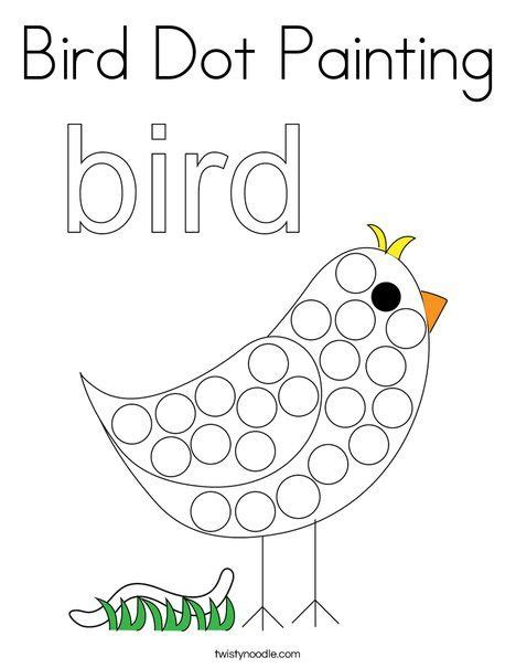 bird dot painting coloring page twisty noodle