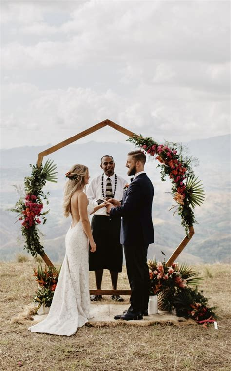 heptagon arch hexagon arch geometric wedding inspiration