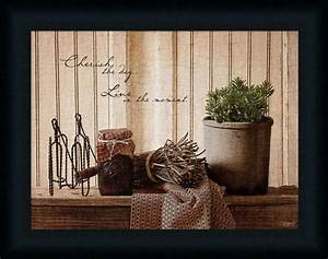 Cherish the day primitive country kitchen sign framed art