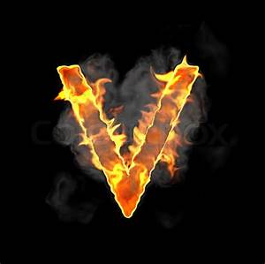 Burning and flame font V letter | Stock Photo | Colourbox