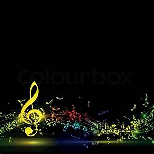 Musical notes staff background on black. Vector ...