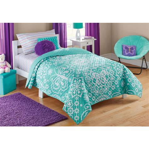 Comforters Bedding Walmart by Mainstays Purple Butterfly Coordinated Bed In A Bag