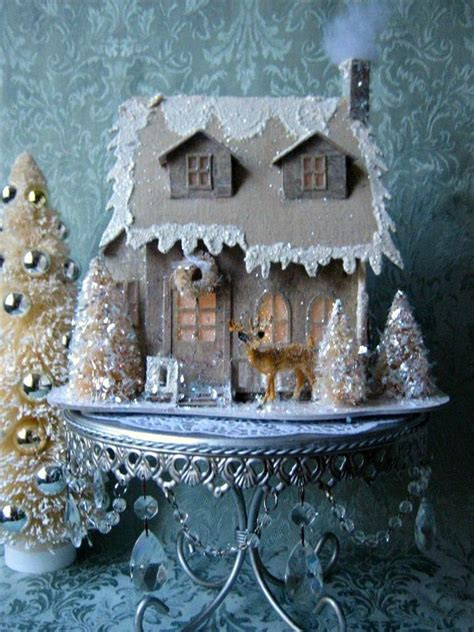details  lighted red putz christmas glitter cottage