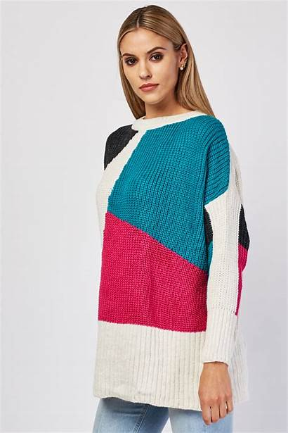 Jumper Block Colour Knit Chunky Jumpers Knitwear