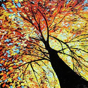 Fall Tree Oil Painting by Beata Sasik
