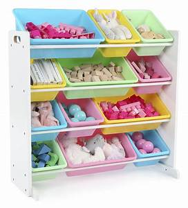 Tot, Tutors, Kids, Toy, Storage, Organizer, With, 12, Plastic, Bins, White, Pastel, Pastel, Collection