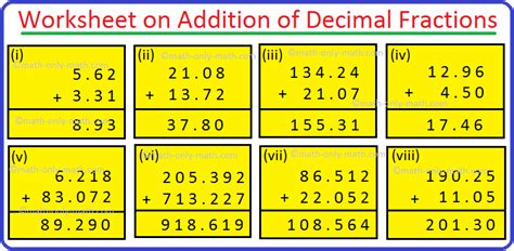 worksheet  addition  decimal fractions word problems