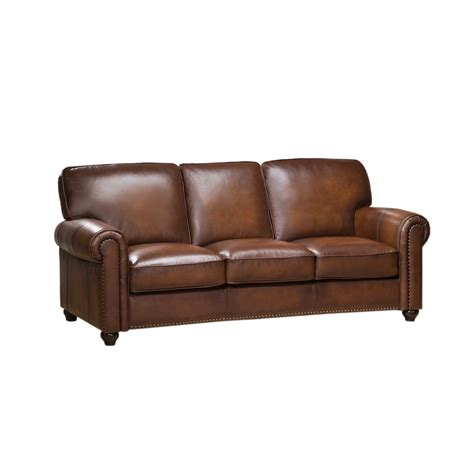uttermost com ls royale olive brown genuine leather sofa with nailhead trim