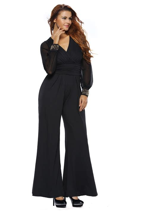 Women Embellished Cuffs Long Mesh Sleeves Jumpsuit Dress