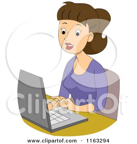 Student Typing Clip Art
