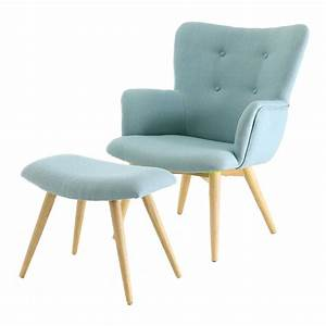 fauteuil repose pieds en polyester style scandinave bleu With tapis de course avec coussin canapé scandinave