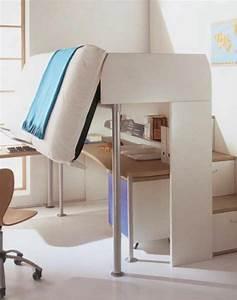 Lit Mezzanine Blanc : le lit mezzanine et bureau plus d 39 espace ~ Teatrodelosmanantiales.com Idées de Décoration