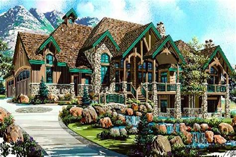 Luxury House Plans- Rustic Craftsman Home Design #8166