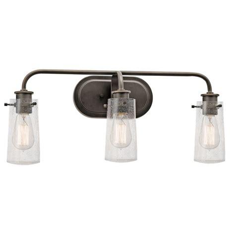glass bathroom light shades kichler 45459oz olde bronze braelyn 3 light 24 quot wide