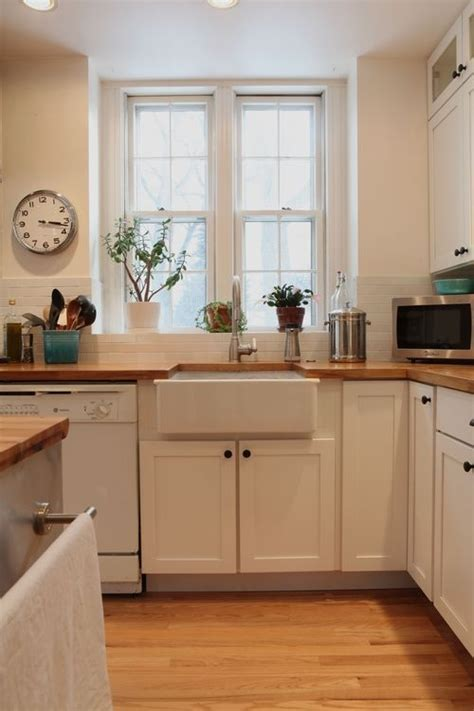 our white farmhouse kitchen with butcher block countertops