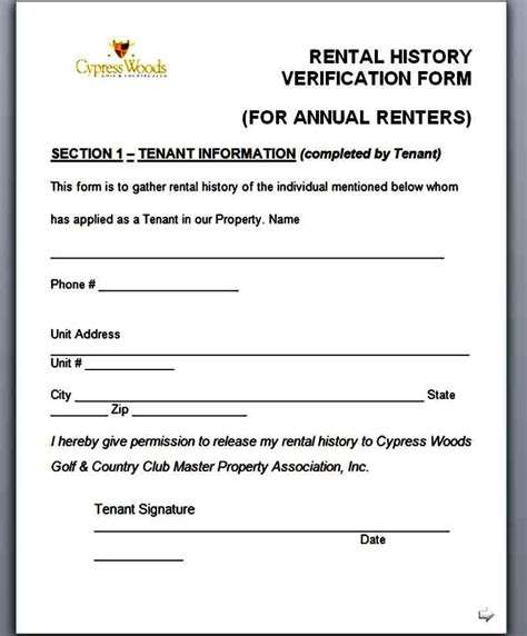 rental verification form template mous syusa