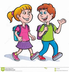 Girl, And Boy Walking With Backpacks On Stock Illustration ...