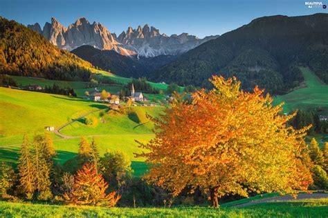 Village Of Santa Maddalena Italy Mountains Autumn