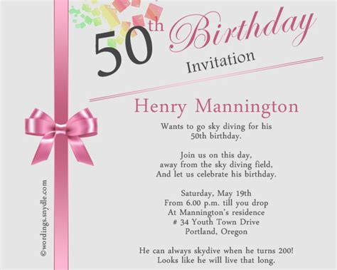 50th Birthday Invitation Wording Samples Wordings and