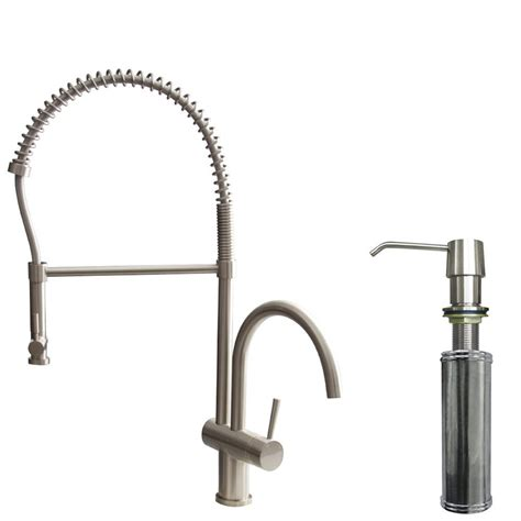 kitchen faucet with built in sprayer vigo single handle pull down sprayer kitchen faucet with soap dispenser in stainless steel