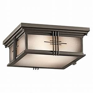 Kichler 49164oz portman square outdoor flush mount ceiling for Outdoor flush mount lighting fixtures