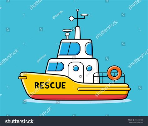 Rescue Boat Icon by Rescue Boat Vector Icon Stock Vector 496380403