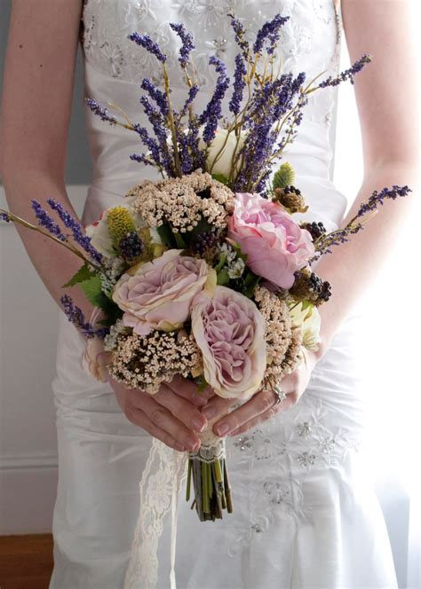 Bohemian Wedding Bouquet Rose And Lavender Wedding