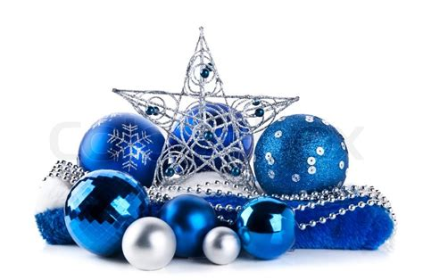 composition   blue christmas balls  star isolated