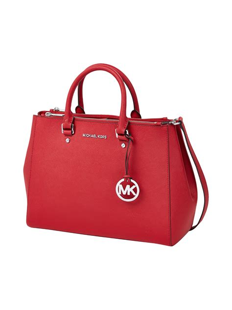 michael kors rote tasche michael michael kors handtasche aus leder in rot kaufen 9270279 p c shop