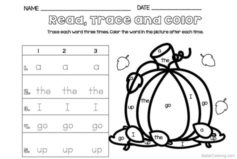 Sight Word Coloring Pages Read Trace And Color