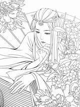 Coloring Adult Printable Poems Anime sketch template