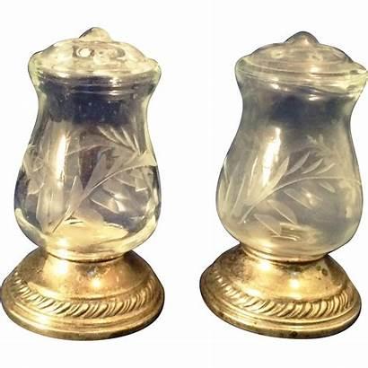 Glass Quaker Cut Unusual Sterling Salt Pepper