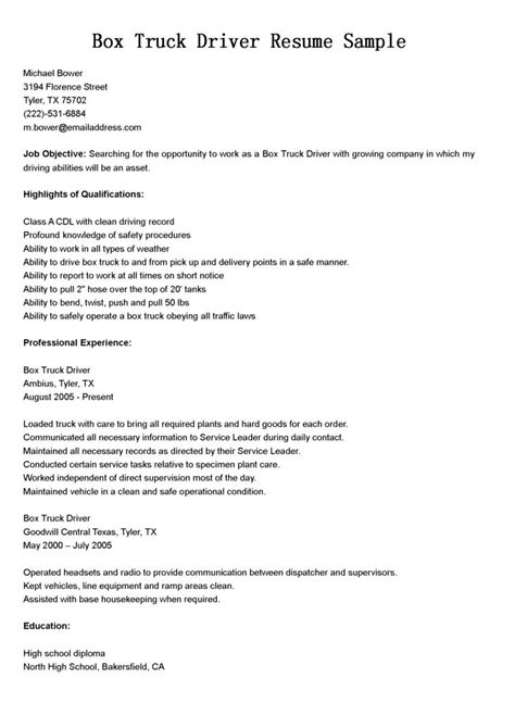 cover letter cdl driver resume  delivery truck