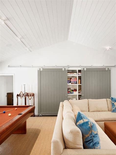 gray barn doors transitional media room dillon kyle