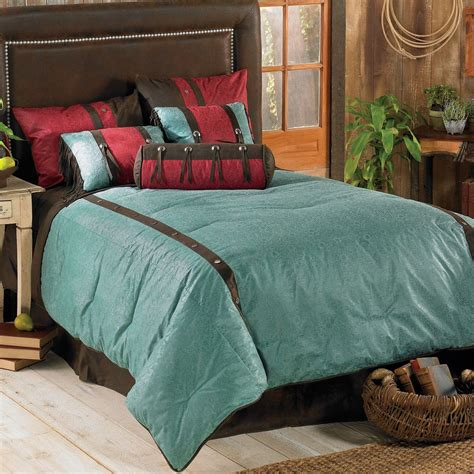 western bedding super king size cheyenne turquoise bed