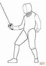 Coloring Fencing Saber Drawing Printable sketch template