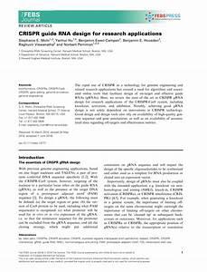 Pdf  Crispr Guide Rna Design For Research Applications