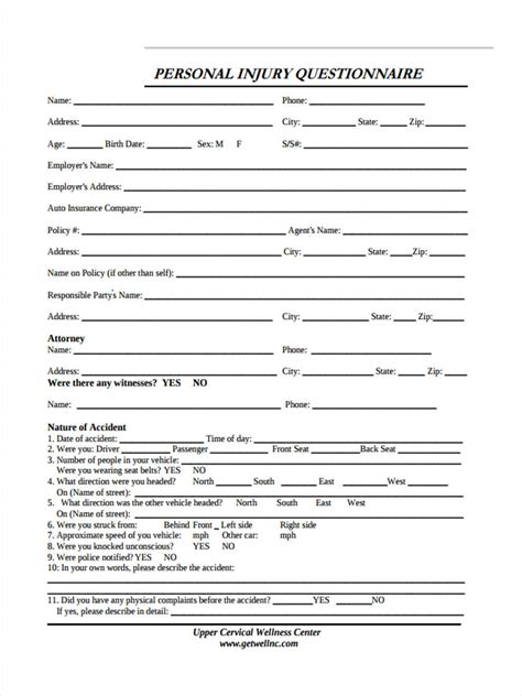 sample questionnaire forms   word