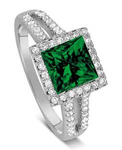 emerald and engagement rings luxurious 1 50 carat princess cut green emerald and engagement ring in white gold