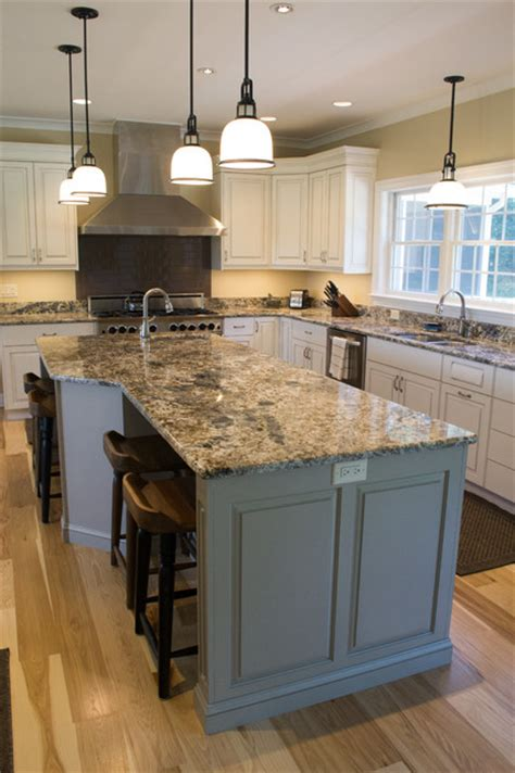 milton de white kitchen and grey island with a pewter glaze