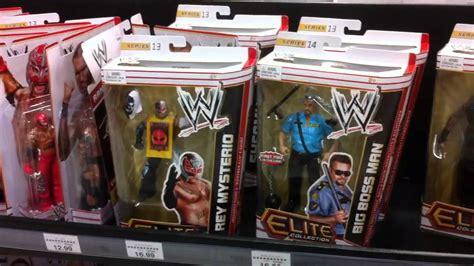wwe action insider toysrus aisle mattel display elite  figure reveiw grims toy show youtube