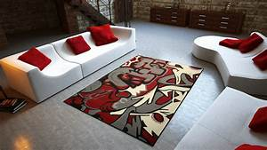 universol tapis salon graffitis tags rouge With tapis décoratif salon