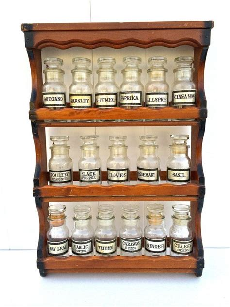 Antique Vintage Wooden Spice Rack With 17 By