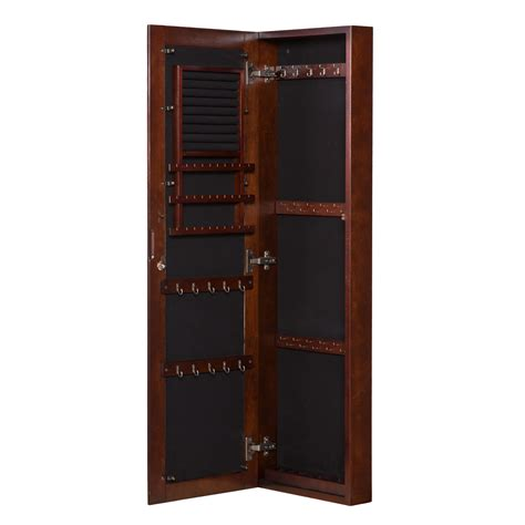 wall mounted jewelry cabinet with mirror walnut wall mount jewelry mirror southern enterprises wall