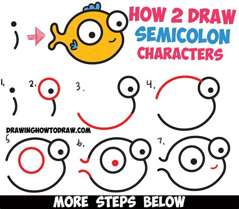 How To Draw A Cute Easy Cartoon Fish From A Semicolon